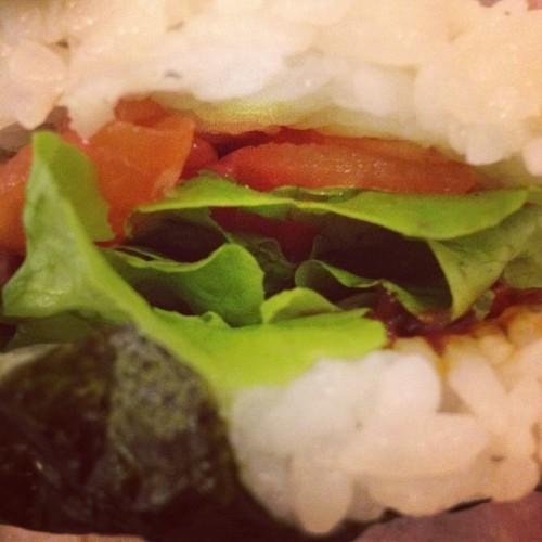 Spicy raw salmon sushi burger (Taken with Instagram)