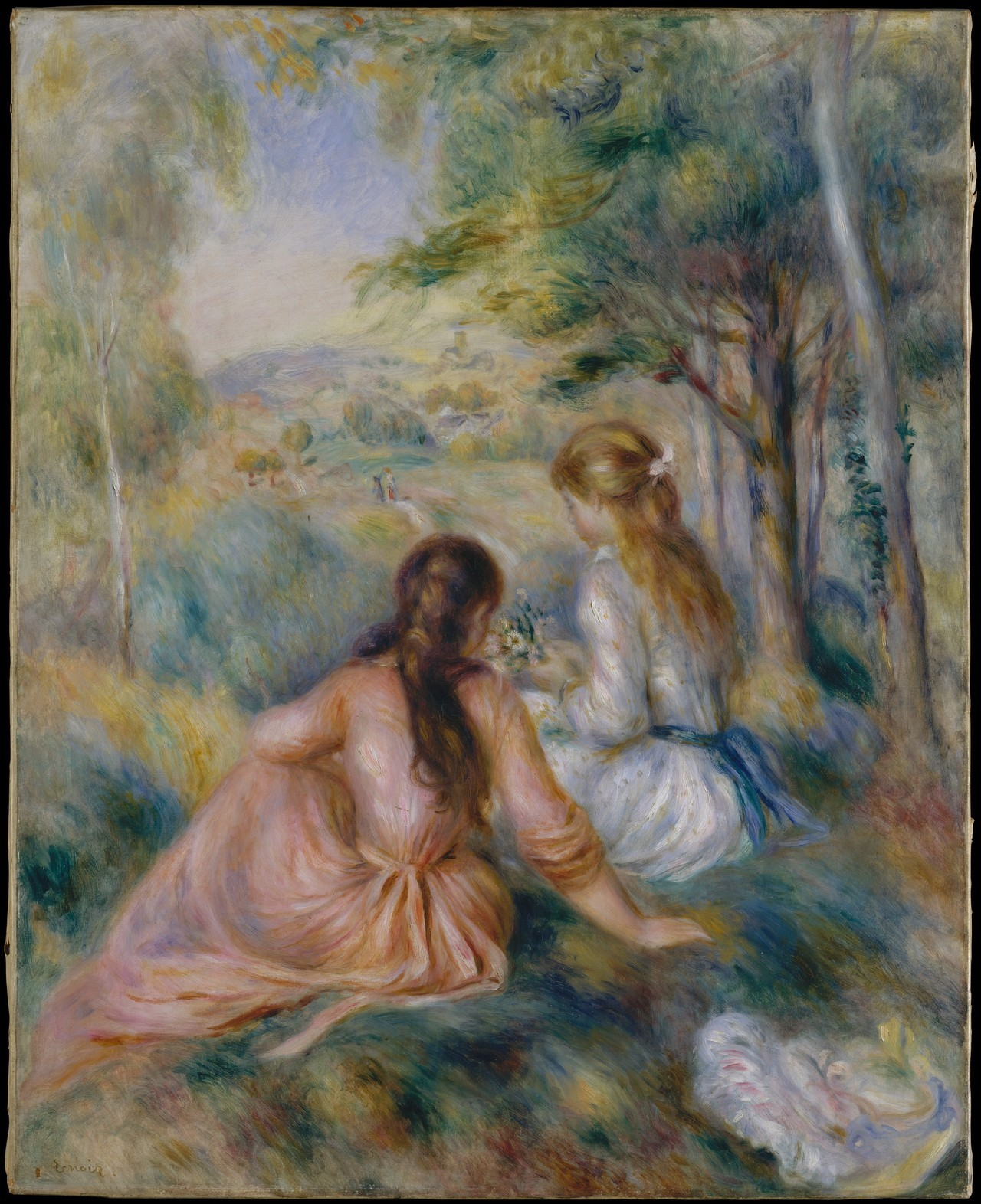 fckyeaharthistory:  Pierre-Auguste Renoir - In the Meadow, 1888-92. Oil on canvas