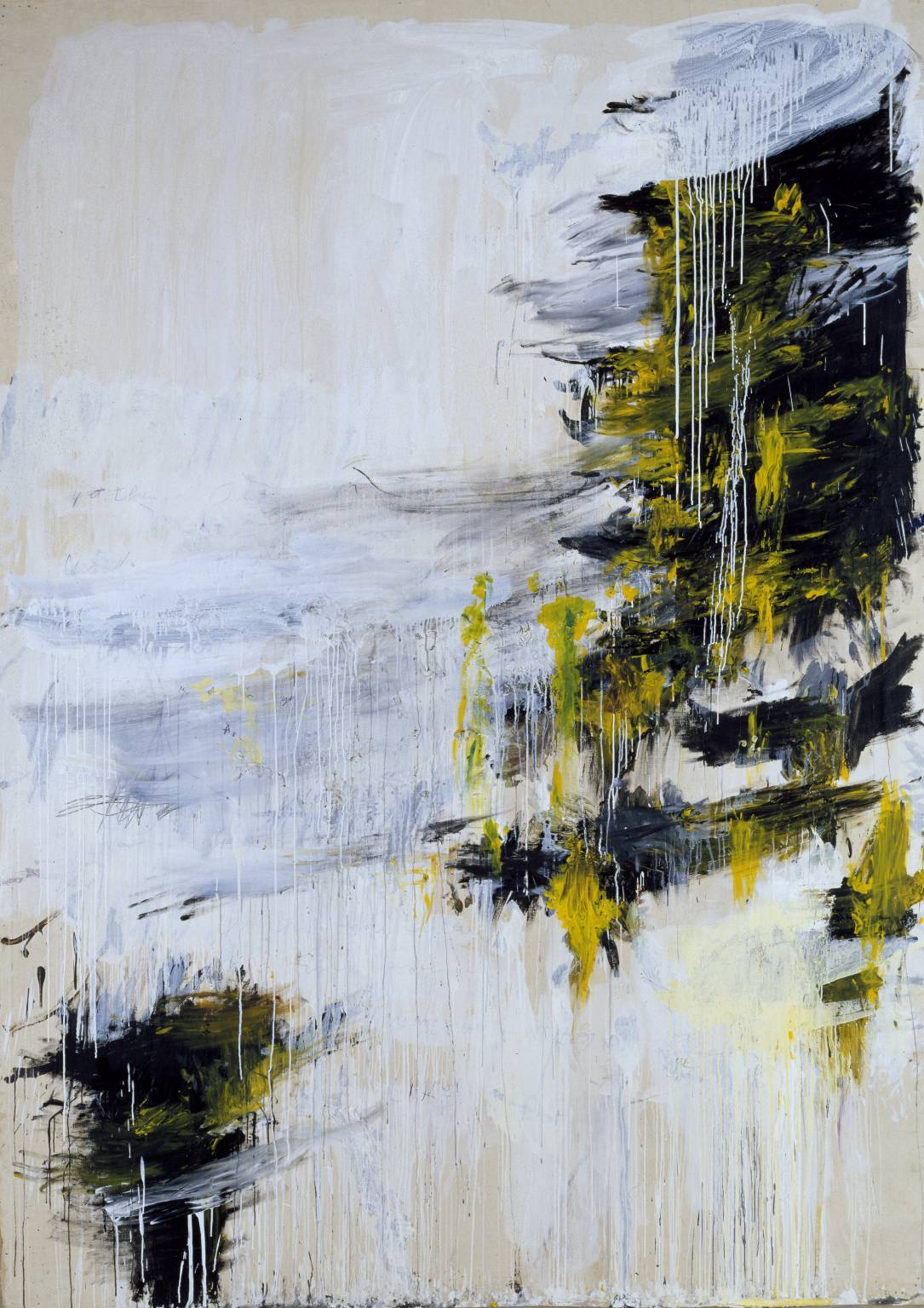 fckyeaharthistory:  Cy Twombly - Quattro Stagioni: Inverno 1993-5, 1993-95. Acrylic, oil, and pencil on canvas