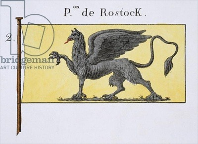 Maritime Flag with Griffin Emblem denoting de Rostock Crest, from a French book of Flags, c.1819 (colour litho) Image ID: STC 103833
