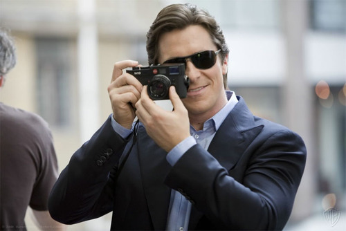 celebritycameraclub:  Christian Bale with his Lieca M9 - copyright WB