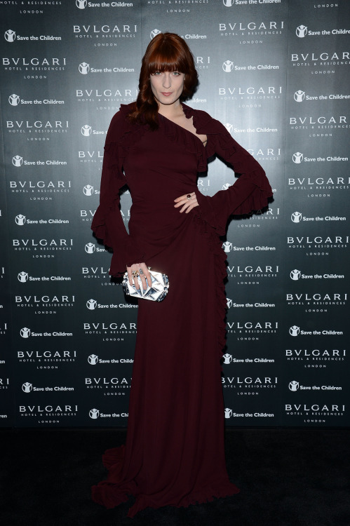 suicideblonde:  Florence Welch (in Gucci) at the Bulgari Hotel and Residences official opening in London, June 14 How is she even REAL?!  She looks like a stained glass window COME TO LIFE.    This is simply stunning. Like, damn.