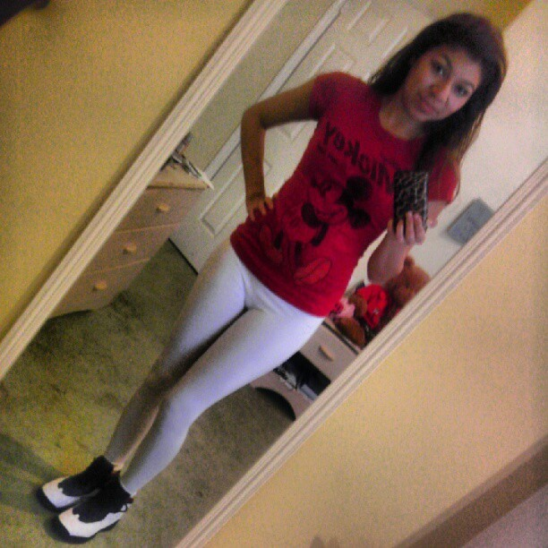 Early morning ^-* #wdywt #Jordans #kicks #mickeyMouse #v #10s #retro #ChicksInKicks #Leggings (Taken with Instagram)