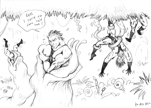 another sketch for the webcomic project. the dangers in the woods..