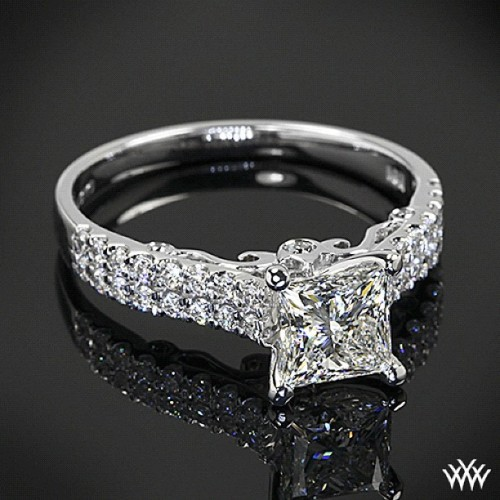 Verragio + Whiteflash = love at first site  We have truly fallen in love with this Verragio Dual Row Shared-Prong Diamond Engagement Ring set with a brilliant 1.031 ct H VS1 A CUT ABOVE® Princess Diamond #whiteflash  (Taken with Instagram)