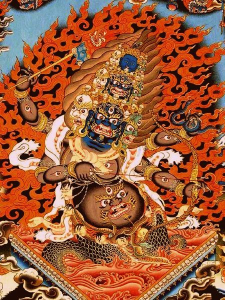 In Tibetan mythology, the demon Rahula is a cut-off head of an asura (power seeking deity), that swallows the sun or the moon causing eclipses.