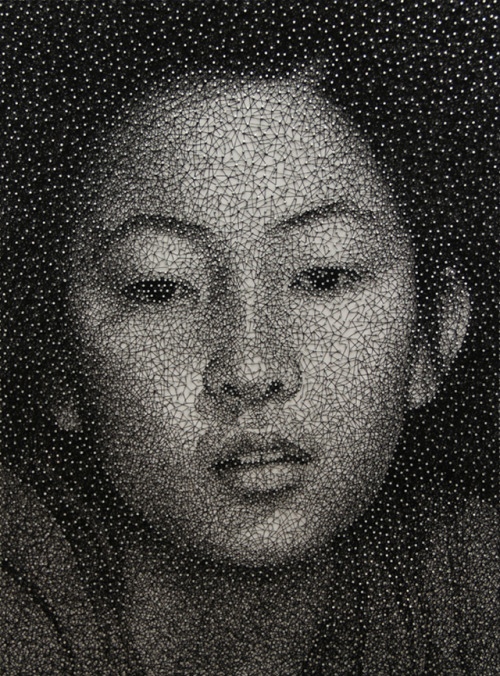 Astounding Photorealistic Thread and Nail Portraits by Kumi Yamashita