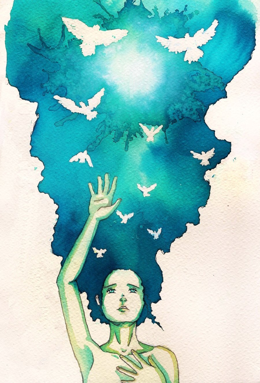 mydarkenedeyes:  Hope New watercolour illustration by BlueShining