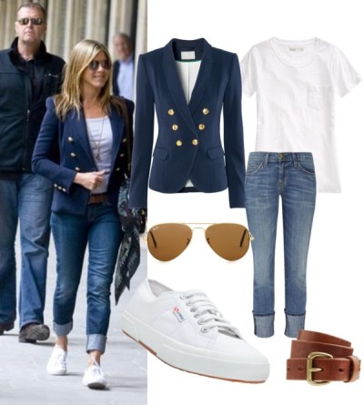 Great Classic: Blazer, Tee & Jeans by lidia-12 featuring skinny jeansMadewell t shirt, $38H m jacket, £30Current/Elliott skinny jeans, $190Superga shoes, £44Ray-Ban aviator style sunglasses, $198J Crew genuine leather belt, $48
