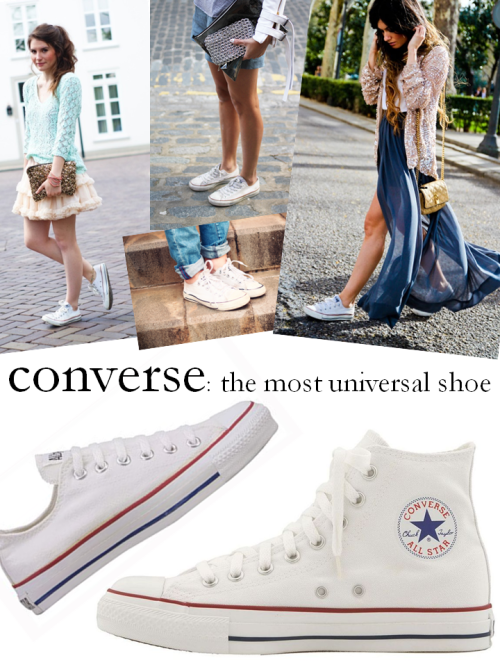 "Converse Chuck Taylors. A classic sneaker for any age (really) and any closet. I purchased the Lo style a few months back, and they have gotten a lot of mileage already. I love to juxtapose the boyish rocker vibe of these with a pretty dress, brightly hued shorts (got these on sale at Gap yesterday!), or make your look Parisienne by pairing them with a cropped skinny pant. I've been swapping out my gladiator sandals for these on days when I know I will be walking a lot. I know, I know, you're thinking, ""but these are sneakers"" and they are, but they are not your velcro-strap, clunky, bulky sneakers. Though I have cringed at the sight of many women of NYC commuting to work in running sneakers while wearing a great outfit, these are the versatile anecdote, and most styles are less than $50!  To keep it classic, choose a neutral shade like black, grey, red, or denim blue. My favorite are the bright white, but find more styles of them here: All Star Hi-Top & All Star Lo.   (Photo credit: Julia Pohle in Teen Vogue // Jen from The Style Crusader // Close up from Dulceida // Angela from MadamedeRosa)"