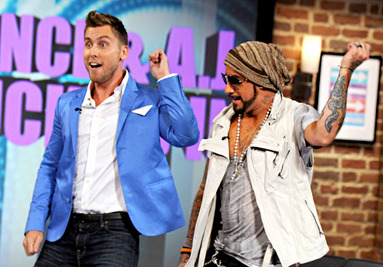 "Here's Lance Bass and AJ McLean dancing to ""Bye, Bye, Bye"" on Kathy Griffin's talk show last night.  Did you know that Kathy Griffin and AJ McLean are like, actual friends? She went to his wedding.  I'm dying. I'm dead."