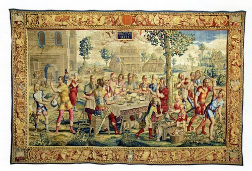 Le Dîner du Général from the Fruits de la Guerre tapestry series, designed by Julles Romain (Gobelins) based on a painting by François Bonnemer, 1685-1686.  Mobilier national, Paris