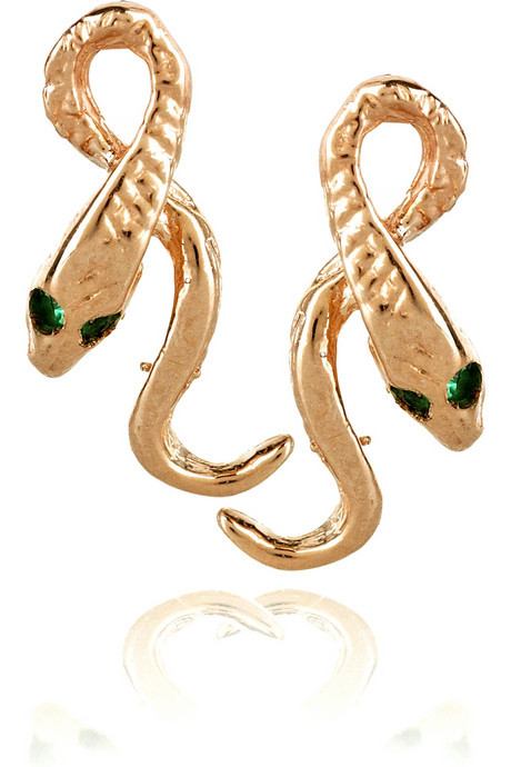 Sand Snakes - Anita Ko Rose gold snake earrings