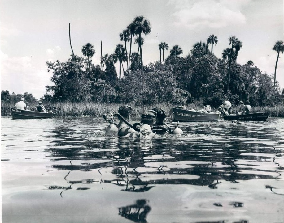 oldflorida:  Dive into Crystal River, 1965.  I'll be snorkeling there tomorrow, weather permitting. Silver Sixties weekend, woo!