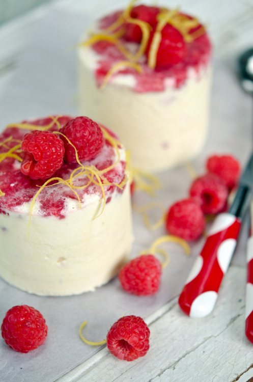 raspberry and lemon semifreddo.