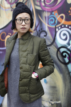 Anafelle is photographed in Shoreditch wearing Timex fashion strap in popping pink by Jackie Dixon as part of the Timex Street Styling activity