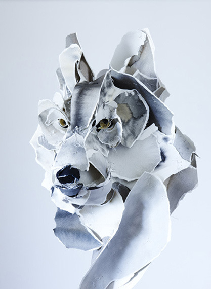 Her paper sculptures are created from archival cotton paper that is painted and sewn together. Wolf, Anna-Wili Highfield 2012 via jamilaproductions: