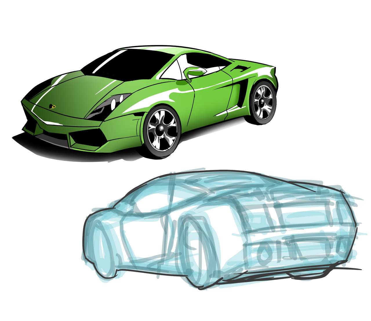 Here's a Lamborghini Twin Turbo Gallardo and one in progress.