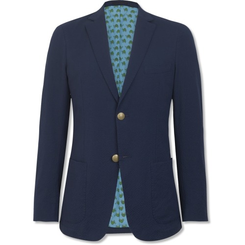 via: Gant   Does anybody have a source for a navy on navy seersucker blazer, unlined in a non boy's cut?