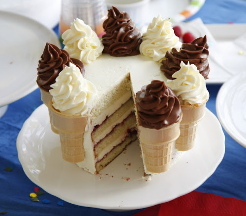 "thecakebar:  Soft Serve Birthday Cake  10 - 12 servings  Cake layers:  2  1/4 cup flour 1 tablespoon baking powder 1/2 teaspoon salt 1 1/4 cup milk 4 egg whites 1 1/2 cup sugar 1 teaspoons lemon zest 4 ounces (1 stick) butter, at room temperature 1/2 teaspoon lemon extract 6 ice cream cones   Lemon frosting:  1 cup sugar 4 egg whites 12 ounces (3 sticks) butter, at room temperature 1/4 cup freshly squeezed lemon juice 1 teaspoon vanilla extract   Chocolate frosting:  1/2 cup sugar 1 tablespoon corn syrup 2 tablespoons water 3/4 cup heavy cream 8 ounces dark  chocolate, chopped 8 ounces (2 sticks) butter, at room temperature   Assembling:  Favorite jam    Bake cake layers:   Butter two 6"" cake pans, line bottoms with parchment rounds, butter parchment. Place cake pans onto a baking sheet.    Place ice cream cones into a muffin/cupcake pan.    Preheat oven to 350oF.    Sift together flour, baking powder and salt.    In a medium size bowl mix together egg whites and milk until well blended.   READ THE REST OF RECIPE HERE"