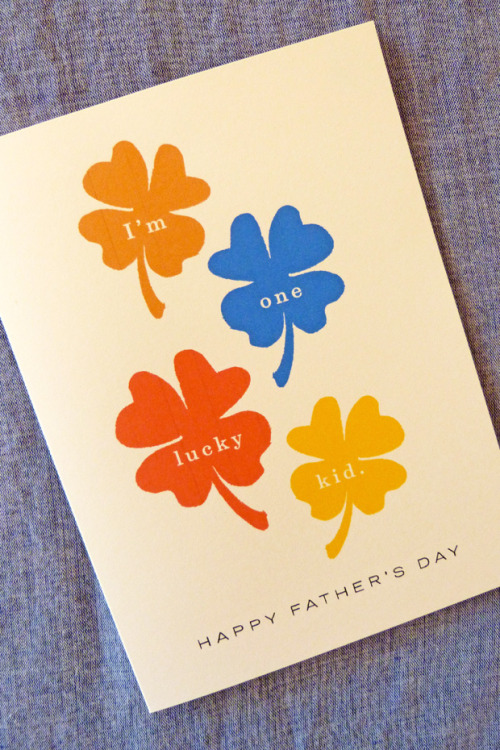Clovers in rust-red, gold, yellow and blue make a Father's day card (J.Falkner).