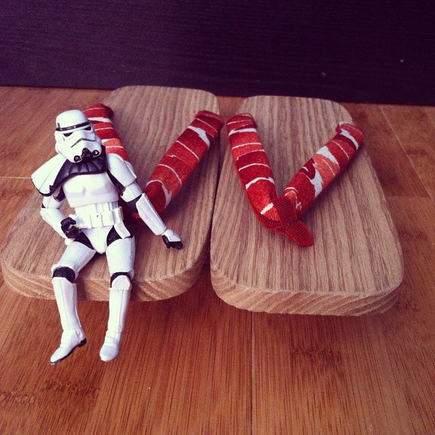 "#georgethetrooper sitting on my grandma's ""zodeez"" (Taken with Instagram)"