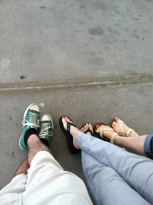 "Steve took this picture, but is physically unable to post feet on his tumblr.  This is our homage to ""airport feet."""