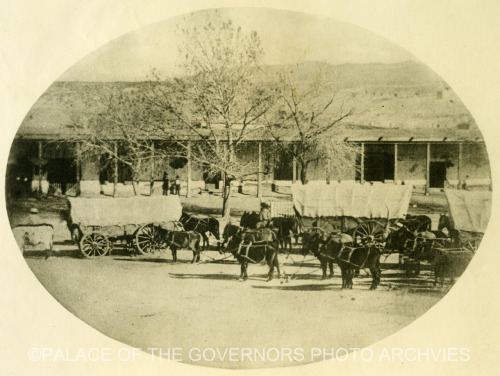 Eisberg-Amberg Wagon Train Plaza, Santa Fe, New Mexico - 1861 Negative #011254