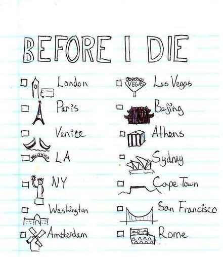 thewolfinhumansclothing:  This is a valid list. I'm assuming they meant Washington D.C. with that drawing. (I know I'm already lame enough about how awesome Carlie is, but she's already been most of these places. She's cooler than you. And me. Don't be ashamed.)  She's been to Sydney more than once if you know what I'm sayin'. ;)