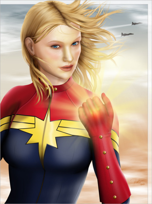wannabeheroine:  Awhile ago, I did a speed paint of Carol Danvers in her new Captain Marvel costume. The piece earned such a positive response that I figured I ought to do it again - but with some real time and effort. Here's the result.This was also a lesson reinforced. Back your stuff up! A computer failure could have caused me to lose weeks of work, but fortunately an automatic back-up averted a major disaster. In the end, I only had to redo her hair. I'm sure it was better the second time around anyway. I had good practice!It's been a REALLY long time since I've done any digital painting in this level of detail. I have to say… it feels pretty good.