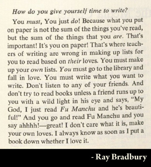 austinkleon:  Reading advice from Ray Bradbury in the May 1971 Wilson Library Bulletin (via)   Nice to hear some love for Fu Manchu!