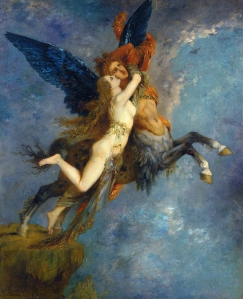 """Lovers""        "" The Chimera ""  by  Gustave Moreau Thanks to Blue-bird42  for posting this wonderful work."