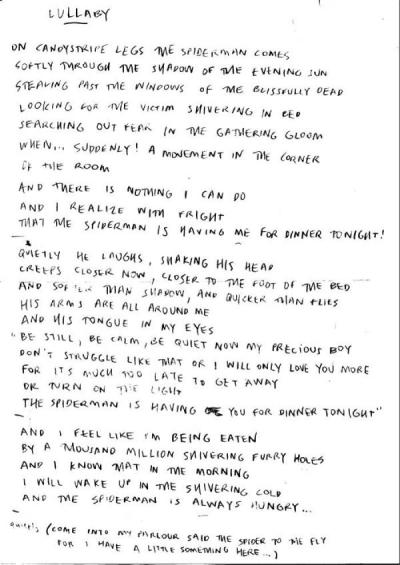 Via parklifemate: Robert Smith's handwritten lyrics to 'Lullaby'.