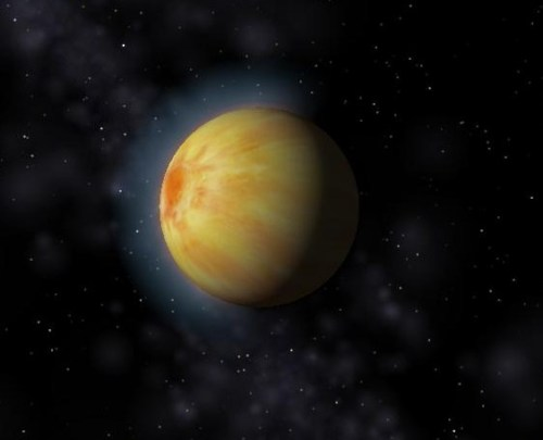 Artist's conception of Bellerophon, the first exoplanet discovered orbiting a main-sequence star.
