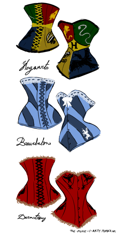 Triwizard tounament corsets. I'm not too happy with the hogwarts one and might redo it later.
