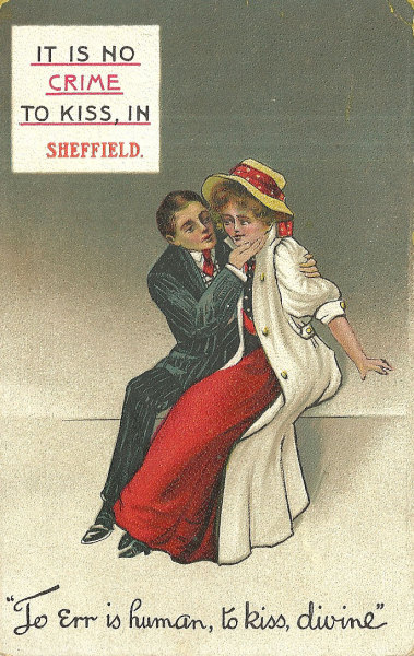 To err is human, to kiss, divine 1910s postcard