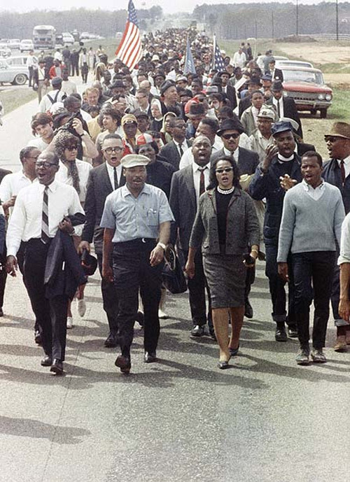notesonascandal:  Look at Mrs.King, front and center. From these days to the rallies for Trayvon Martin and everything in between, Black women have been out front supporting Black men. At home and in the streets. Sitting in the audience for graduations and awards ceremonies and in the gallery at court hearings, we've been there for our fathers, sons, husbands, brothers, neighbors and those we don't even know. That's why I get so sick and angry when I see those images depicting Black women as unsupportive, loveless harpies. When stupid men throw that tired and ignorant untruth of us not being there for them around with their words and wack graphics, they are basically spitting in the face of every Black woman that ever loved/stood up/laid down/sacrificed for them. Starting with their own Grandma and Mama.