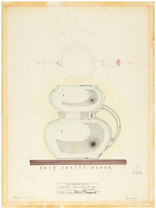 thegetty:  Coffee time! Design for Drip Coffee Maker, Karl Schneider, June 12, 1942. Graphite and colored pencil on tracing vellum. The Getty Research Institute, 850129 More on Karl Schneider and Sears design.  Coffee art with your morning coffee.