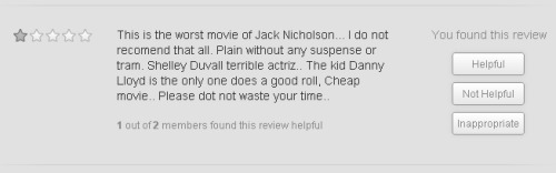1 out of 2 members found this review helpful. Netflix user's review of Stanley Kubrick's The Shining :: via netflix.com