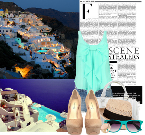 Beautiful Santorini! by justsweet featuring cutoff shorts