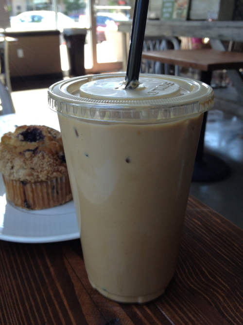 Everything is better with an Iced Caramel Breve Latte.  And a muffin.