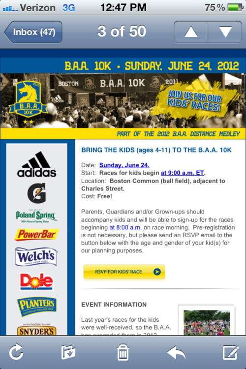Do you have kids in the New England area?  Bring them by the BAA 10k next Sunday morning at the Boston Common for a kids fun run and an autograph session for some of today's most inspiring runners! See you there!