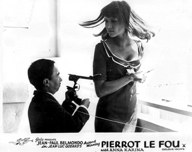 Lobby card for Pierrot le Fou, 1965.