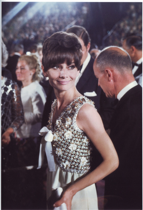 Audrey Hepburn at the Academy Awards ceremony, 1967.