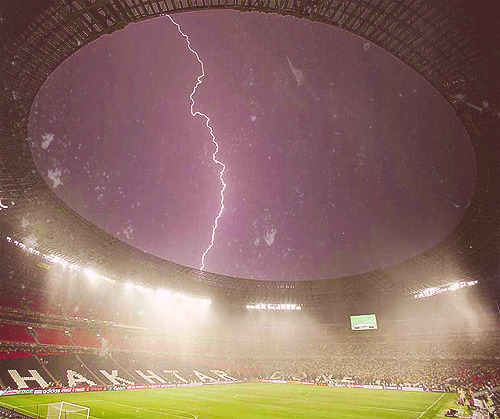 the rain before the Ukraine - France Euro 2012 game
