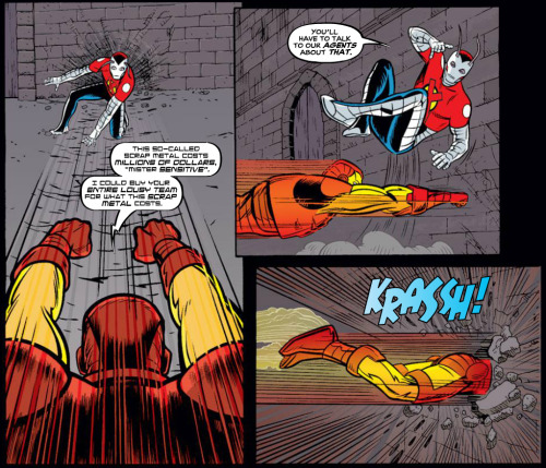 MARVEL PANEL OF THE DAY From: X-Statix #24 Iron Man and Mr. Sensitive fight and quip. (Editors Note: To enhance your enjoyment of X-Statix, do not become emotionally invested in the longevity of any particular character.)