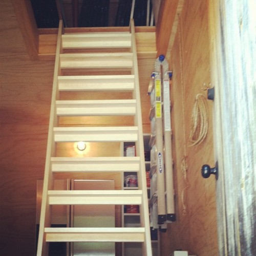 The steps to the attic = installed! (Taken with Instagram)