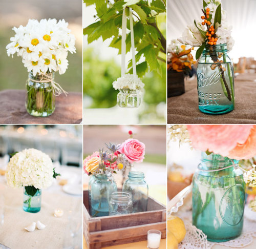 bride2be:  Mason Jars as Vases Jamie Grenough Photography via SMP | JAC Photography via SMP | Pictilio via SMP | Candice Benjamin Photography via Ruffled | Samm Blake via SMP | Leslie Walker Photography via SMP | Yazy Jo Photography via SMP | Abi Q Photography via Ruffled | Picotte Weddings via SMP (via Picks on Paper - Mason Jar Wedding Ideas)