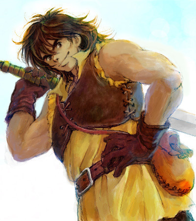 Day 2 - Favorite SOD (Star of Destiny) in Suikoden I VIKTOR, practically from the moment he was introduced. He smuggled Tir's party to safety to skip out on a bar tab! He stole Gremio's wallet! His idea of infiltration involves setting a house on fire! And he's one of the most loyal friends you could ask for, despite his rogueishness. He's loud and boisterous and brash and perpetually drunk without being a total dick, which I always enjoy. He has great relationships with so many other characters, too, and if you say you've never cracked up at Viktor and Flik's bickering, you're lying. Like a lot of JRPG characters, he has dark secrets in his past; unlike a lot of JRPG characters, he doesn't bring them up constantly and hides his hurts behind a front of bluster and cheer. Surpisingly subtle characterization for a guy who's so much larger than life, but that's why Suikoden rocks. He's also a really, REALLY good character to have around in your party — I'm so used to games forcing really terrible characters into your party for reasons of plot, but I can't imagine not wanting to have Viktor around all the time. Viktor + Double-Beat (or Viktor + Double-Beat + Fury or Double-strike in II) = death to all foes. And he saved my butt during the boss fight against Neclord in I, when he was the only character left standing. This is apparently a common occurrence. Other favorite SoDs in I: Tir, Gremio (;___;), Flik, Valeria, Futch(ie), and Mathiu. And Luc, because I'm inordinately fond of that little asshole.