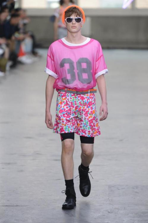 wetheurban:  TOPMAN DESIGN SPRING 2013 London Collections: Men kicked off to a sensational start today, celebrating the best in British design talent their fair Capital has to offer. Undoubtedly one of the most high profile shows, Topman, presented a pretty loud premium collection (from the mind of Topman Design and Development Director Gordon Richardson). Topman Design '13 was filled with floral statements, neon mesh, vibrant prints, and broad shorts with a fun Olympic varsity feel (fitting, right?). An overall well rounded and wonky collection. 2013 is off to an amazing fashion start.